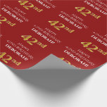[ Thumbnail: 42nd Birthday: Elegant, Red, Faux Gold Look Wrapping Paper ]