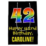 "[ Thumbnail: 42nd Birthday: Fun, Bold, Colorful, Rainbow ""42"" Gift Bag ]"