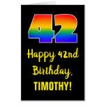 [ Thumbnail: 42nd Birthday: Fun, Colorful, Happy, Rainbow # 42 Card ]