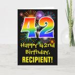 [ Thumbnail: 42nd Birthday: Fun Fireworks Pattern + Rainbow 42 Card ]