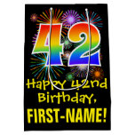 [ Thumbnail: 42nd Birthday: Fun Fireworks Pattern + Rainbow 42 Gift Bag ]