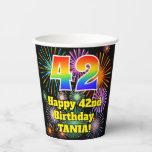 [ Thumbnail: 42nd Birthday: Fun Fireworks Pattern + Rainbow 42 ]