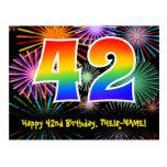 [ Thumbnail: 42nd Birthday – Fun Fireworks Pattern + Rainbow 42 Postcard ]