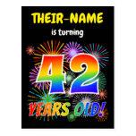 "[ Thumbnail: 42nd Birthday - Fun Fireworks, Rainbow Look ""42"" Postcard ]"