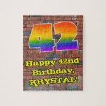 [ Thumbnail: 42nd Birthday: Fun Graffiti-Inspired Rainbow 42 Jigsaw Puzzle ]