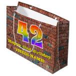 [ Thumbnail: 42nd Birthday: Fun, Graffiti-Inspired Rainbow # 42 Gift Bag ]