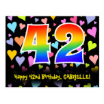 [ Thumbnail: 42nd Birthday: Fun Hearts Pattern, Rainbow 42 Postcard ]