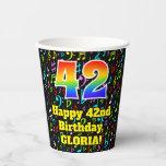 [ Thumbnail: 42nd Birthday: Fun Music Notes Pattern, Rainbow 42 ]