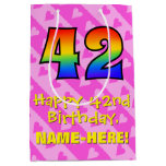 [ Thumbnail: 42nd Birthday: Fun Pink Hearts Stripes; Rainbow 42 Gift Bag ]