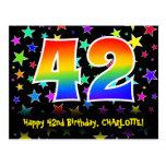 [ Thumbnail: 42nd Birthday: Fun Stars Pattern, Rainbow 42, Name Postcard ]