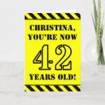 [ Thumbnail: 42nd Birthday: Fun Stencil Style Text, Custom Name Card ]