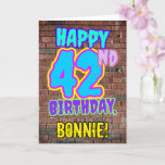 [ Thumbnail: 42nd Birthday - Fun, Urban Graffiti Inspired Look Card ]