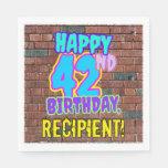 [ Thumbnail: 42nd Birthday ~ Fun, Urban Graffiti Inspired Look Napkins ]