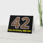 "[ Thumbnail: 42nd Birthday: Name + Faux Wood Grain Pattern ""42"" Card ]"