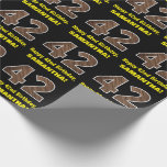 "[ Thumbnail: 42nd Birthday: Name & Faux Wood Grain Pattern ""42"" Wrapping Paper ]"