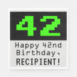 "[ Thumbnail: 42nd Birthday - Nerdy / Geeky Style ""42"" & Name Napkins ]"
