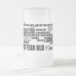 42nd Birthday Party Greatest Forty Two Year Old Frosted Glass Beer Mug