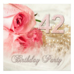 42nd Birthday party invitation, roses and pearls