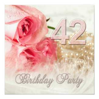 """42nd Birthday party invitation, roses and pearls 5.25"""" Square Invitation Card"""