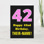 "[ Thumbnail: 42nd Birthday: Pink Stripes and Hearts ""42"" + Name Card ]"