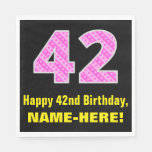 "[ Thumbnail: 42nd Birthday: Pink Stripes and Hearts ""42"" + Name Napkins ]"