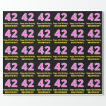 "[ Thumbnail: 42nd Birthday: Pink Stripes and Hearts ""42"" + Name Wrapping Paper ]"