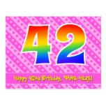 [ Thumbnail: 42nd Birthday: Pink Stripes & Hearts, Rainbow 42 Postcard ]