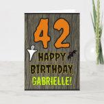 [ Thumbnail: 42nd Birthday: Spooky Halloween Theme, Custom Name Card ]