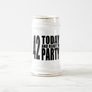 42nd Birthdays Parties : 42 Today & Ready to Party Beer Stein