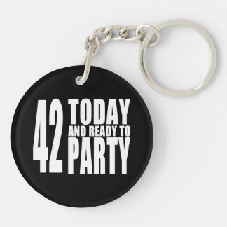 42nd Birthdays Parties : 42 Today & Ready to Party Keychain