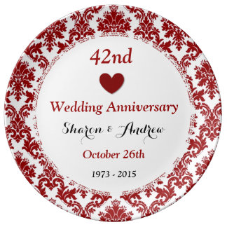 42nd Wedding Anniversary Ruby Red Damask A42A Plate