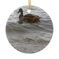 4354 Duck in water Ceramic Ornament