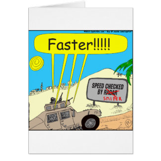 435 speed checked by sniper Cartoon Greeting Card