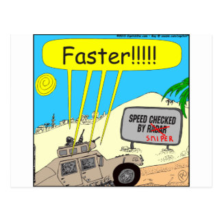 435 speed checked by sniper Cartoon Postcard