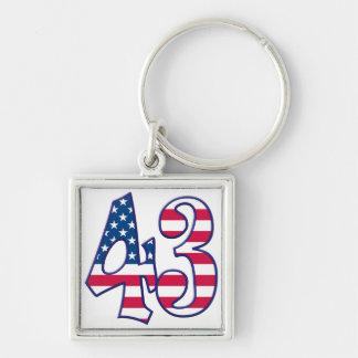 43 Age USA Silver-Colored Square Keychain
