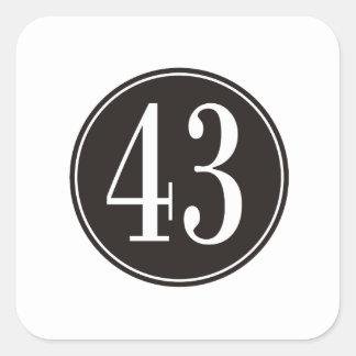 #43 Black Circle Square Sticker