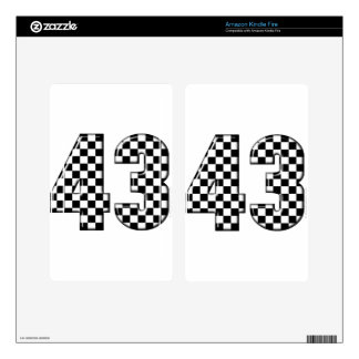 43 checkered number kindle fire skins