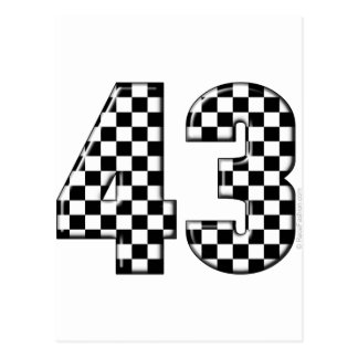 43 checkered number postcard