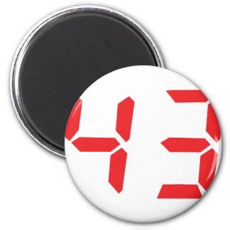 43 fourty-three red alarm clock digital number 2 inch round magnet