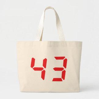 43 fourty-three red alarm clock digital number bag