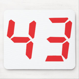 43 fourty-three red alarm clock digital number mouse pad