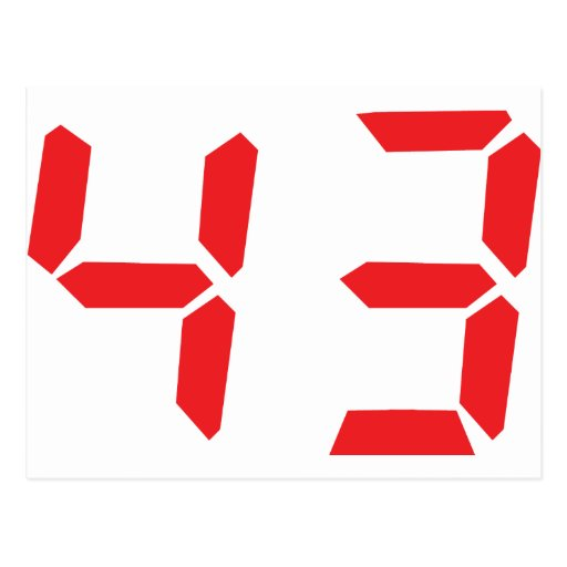 43 fourty-three red alarm clock digital number postcard | Zazzle