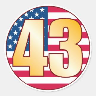 43 USA Gold Classic Round Sticker