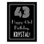 "[ Thumbnail: 43rd Birthday — Art Deco Inspired Look ""43"" + Name Card ]"