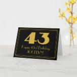 "[ Thumbnail: 43rd Birthday: Art Deco Inspired Look ""43"" & Name Card ]"