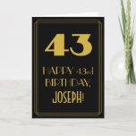"[ Thumbnail: 43rd Birthday ~ Art Deco Inspired Look ""43"" & Name Card ]"
