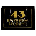 "[ Thumbnail: 43rd Birthday — Art Deco Inspired Look ""43"" & Name Gift Bag ]"