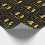 "[ Thumbnail: 43rd Birthday ~ Art Deco Inspired Look ""43"", Name Wrapping Paper ]"