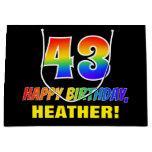[ Thumbnail: 43rd Birthday: Bold, Fun, Simple, Rainbow 43 Gift Bag ]