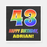 [ Thumbnail: 43rd Birthday: Bold, Fun, Simple, Rainbow 43 Napkins ]